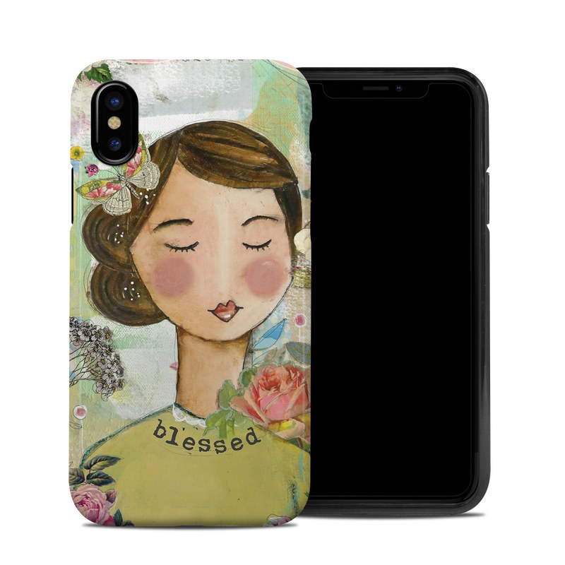 iPhone XS Hybrid Case design of Illustration, Cheek, Art, Watercolor paint, Retro style, Painting, Plant, Flower, Fashion illustration, Fictional character with pink, green, yellow, white, red, blue colors