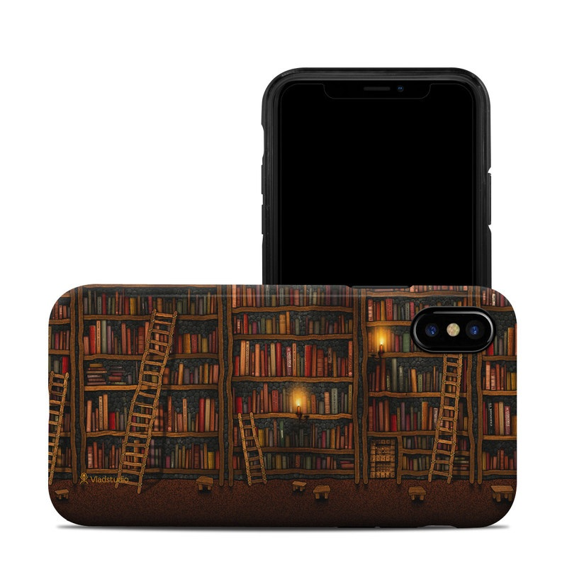 iPhone XS Hybrid Case design of Shelving, Library, Bookcase, Shelf, Furniture, Book, Building, Publication, Room, Darkness with black, red colors