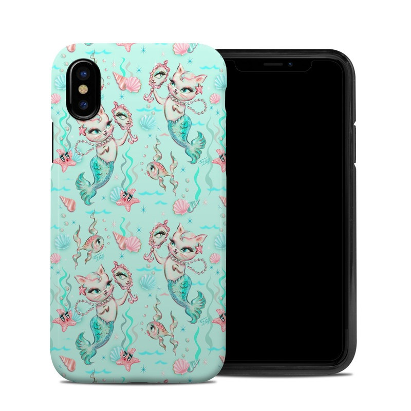 iPhone XS Hybrid Case design of Green, Aqua, Pattern, Teal, Turquoise, Pink, Textile, Wrapping paper, Design with blue, pink, white, green colors