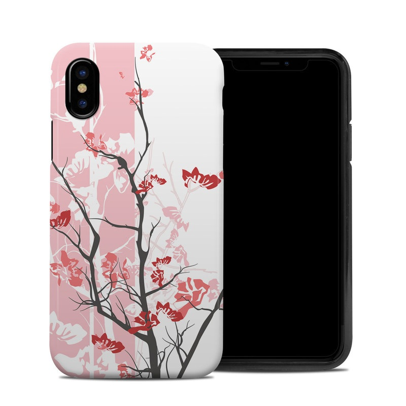 iPhone XS Hybrid Case design of Branch, Red, Flower, Plant, Tree, Twig, Blossom, Botany, Pink, Spring with white, pink, gray, red, black colors