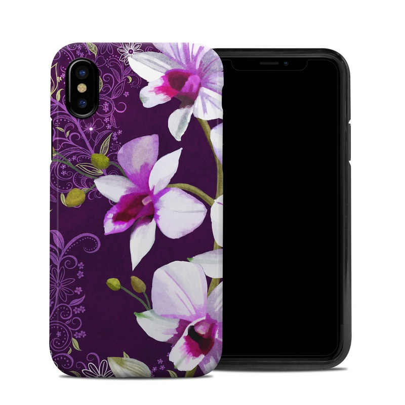 iPhone XS Hybrid Case design of Flower, Purple, Petal, Violet, Lilac, Plant, Flowering plant, cooktown orchid, Botany, Wildflower with black, gray, white, purple, pink colors