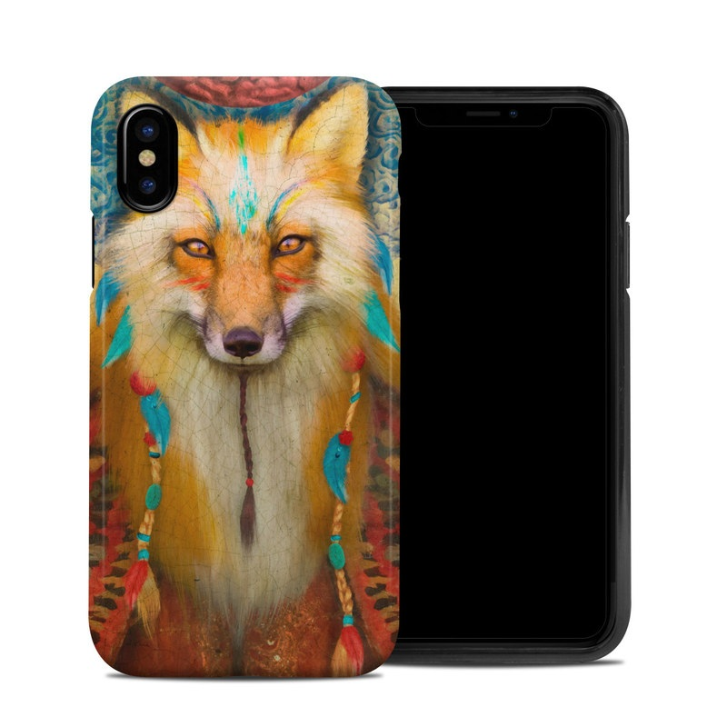 iPhone XS Hybrid Case design of Red fox, Canidae, Fox, Wildlife, Swift fox, Carnivore, Jackal, Fur, Snout, Art with red, black, gray, green, blue colors