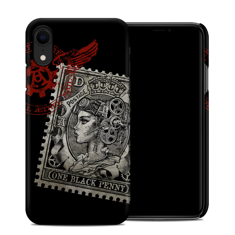 Apple iPhone XR Clip Case design of Font, Postage stamp, Illustration, Drawing, Art with black, gray, red colors