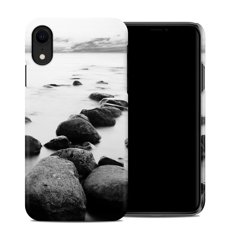 iPhone XR Clip Case design of Body of water, Monochrome photography, Black-and-white, White, Rock, Nature, Water, Shore, Black, Sea with gray, white, black colors