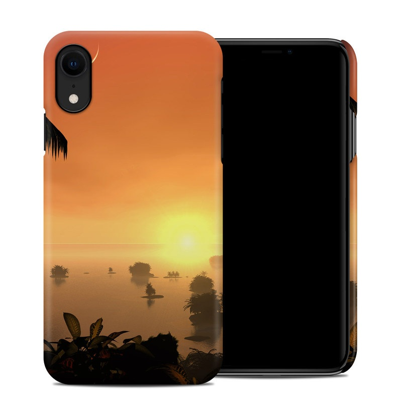 iPhone XR Clip Case design of Nature, Sky, Tropics, Tree, Palm tree, Sunset, Afterglow, Sunrise, Arecales, Evening with orange, yellow, black colors