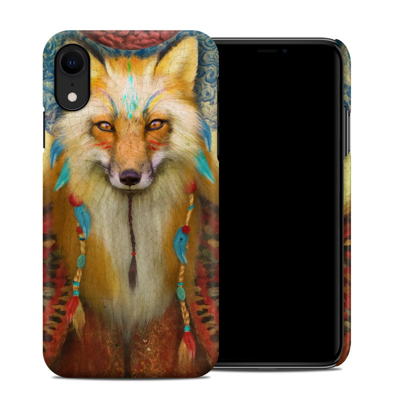 Apple iPhone XR Clip Case design of Red fox, Canidae, Fox, Wildlife, Swift fox, Carnivore, Jackal, Fur, Snout, Art with red, black, gray, green, blue colors
