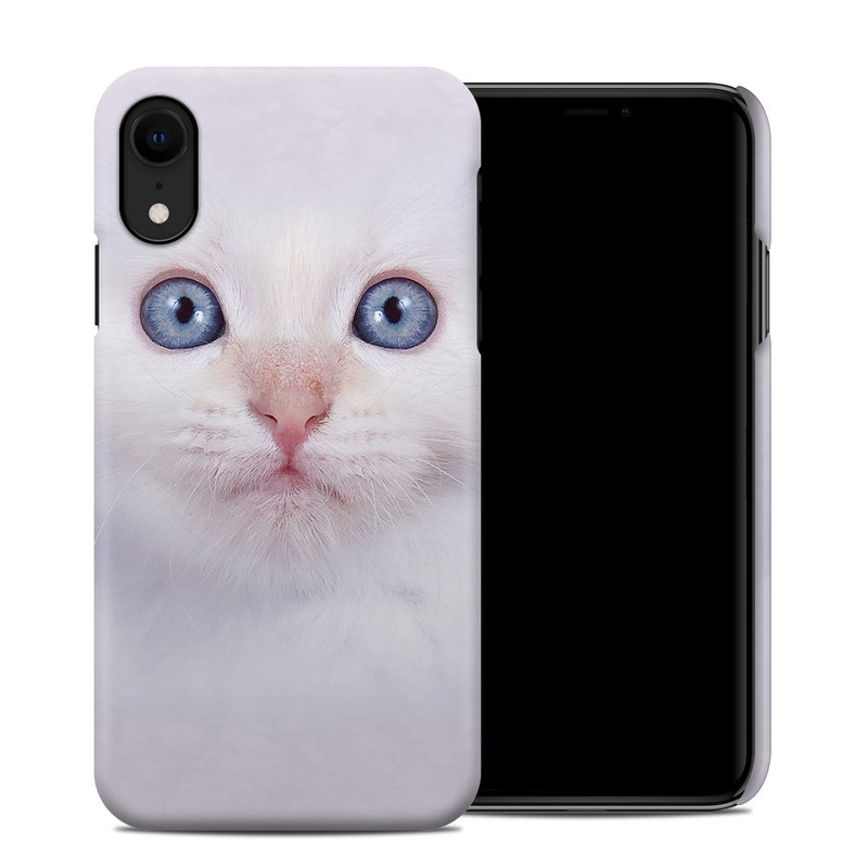 Apple iPhone XR Clip Case design of Cat, Whiskers, Face, Nose, Felidae, Small to medium-sized cats, Eye, Skin, Snout, Head with gray, purple, black colors