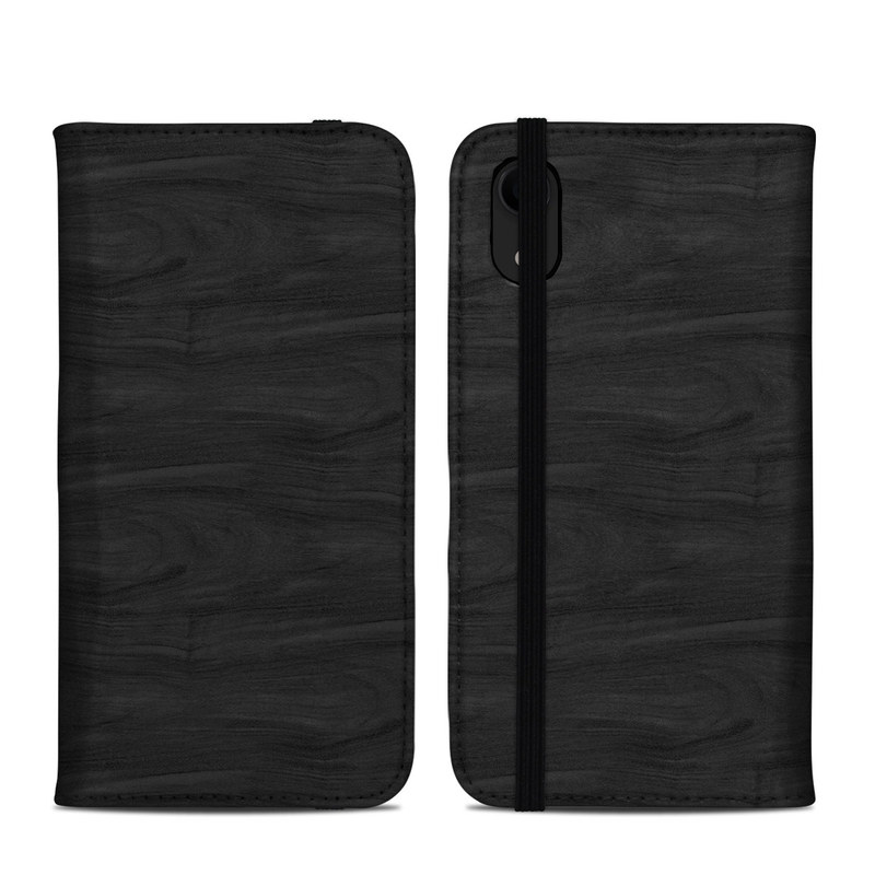 iPhone XR Folio Case design of Black, Brown, Wood, Grey, Flooring, Floor, Laminate flooring, Wood flooring with black colors