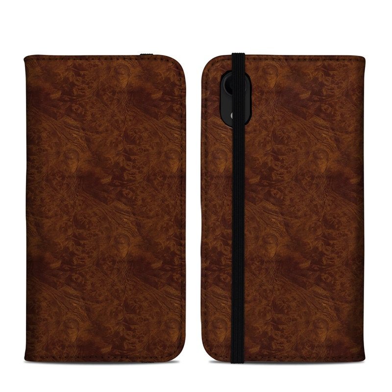iPhone XR Folio Case design of Brown, Wood, Wood flooring, Caramel color, Pattern, Hardwood, Wood stain, Flooring, Floor, Plywood with brown colors