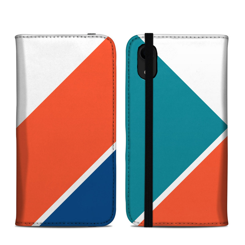 iPhone XR Folio Case design of Blue, Orange, Line, Turquoise, Flag, Electric blue, Pattern, Parallel with white, blue, red, orange, green colors