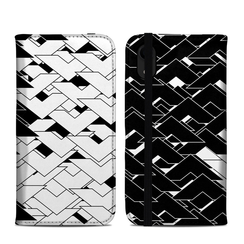 iPhone XR Folio Case design of Pattern, Black, Black-and-white, Monochrome, Monochrome photography, Line, Design, Parallel, Font with black, white colors