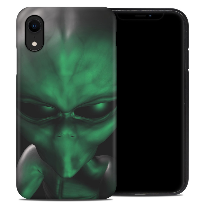 iPhone XR Hybrid Case design of Green, Head, Fictional character, Close-up, Art, Action figure, Supervillain with black, green colors