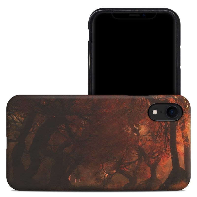 iPhone XR Hybrid Case design of Nature, Natural environment, Atmospheric phenomenon, Forest, Northern hardwood forest, Biome, Tree, Wildfire, Woodland, Cg artwork with black, red, yellow, orange, brown colors