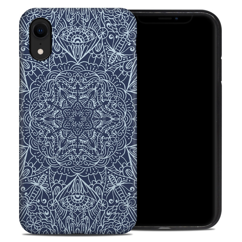 iPhone XR Hybrid Case design of Blue, Pattern, Azure, Cobalt blue, Design, Textile, Electric blue, Wallpaper, Symmetry with blue, white colors