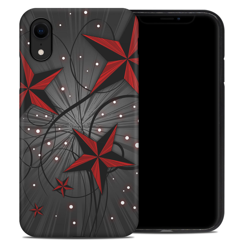 iPhone XR Hybrid Case design of Red, Star, Astronomical object, Sky, Pattern, Space, Illustration, Graphic design with black, red, white colors