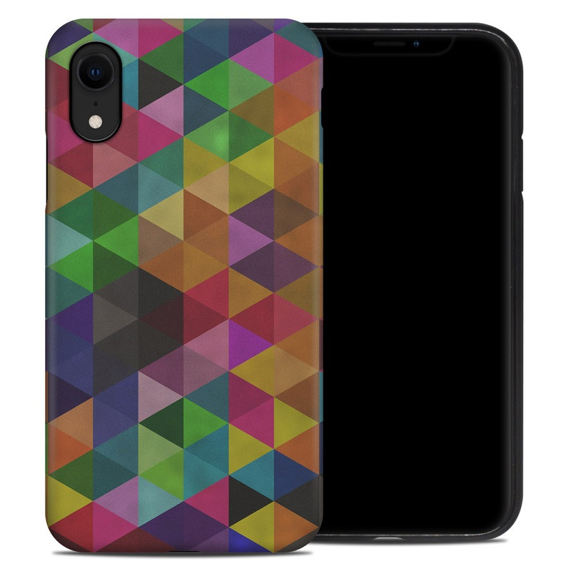 iPhone XR Hybrid Case design of Pattern, Orange, Purple, Violet, Triangle, Magenta, Line, Design, Psychedelic art, Colorfulness with black, red, green, blue colors