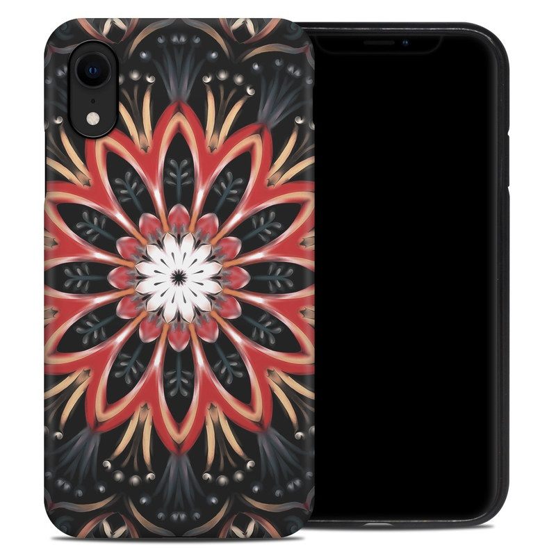 iPhone XR Hybrid Case design of Pattern, Psychedelic art, Symmetry, Design, Art, Visual arts, Textile, Kaleidoscope, Fractal art, Ornament with black, red, white, blue, yellow, orange colors