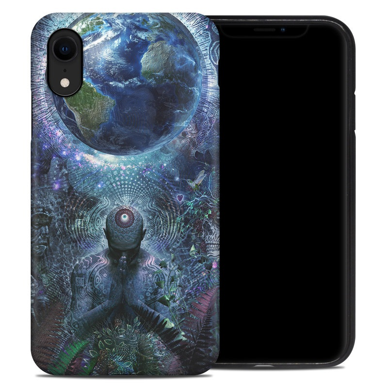 iPhone XR Hybrid Case design of Psychedelic art, Fractal art, Art, Space, Organism, Earth, Sphere, Graphic design, Circle, Graphics with blue, green, gray, purple, pink, black, white colors