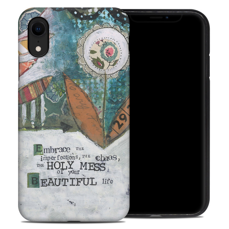 iPhone XR Hybrid Case design of Leaf, Font, Plant, Illustration, Art with blue, white, green, red, orange, yellow colors