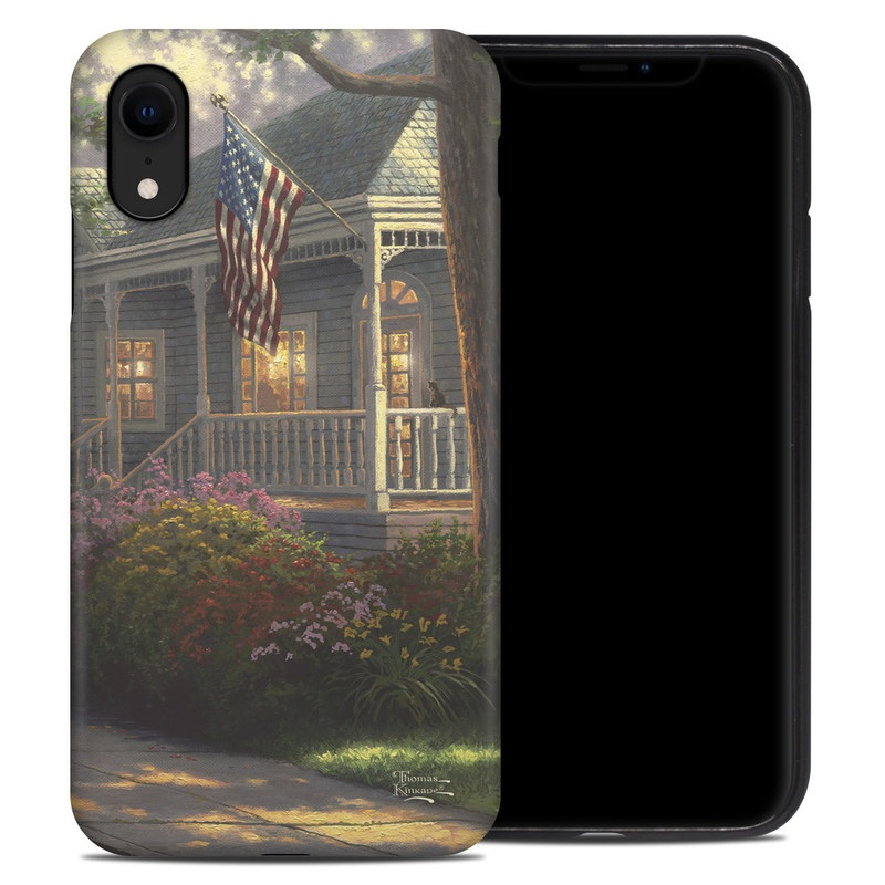 iPhone XR Hybrid Case design of Home, Property, House, Residential area, Real estate, Neighbourhood, Building, Tree, Landscaping, Cottage with green, blue, red, white, pink, yellow, orange, brown colors