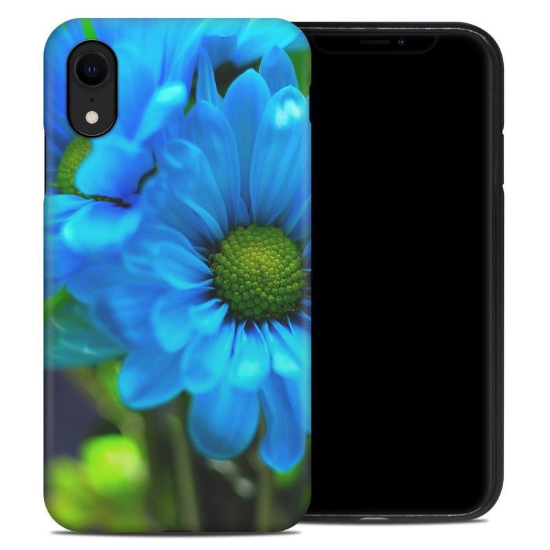 iPhone XR Hybrid Case design of Blue, Flower, Petal, Green, Plant, Cobalt blue, Yellow, Flowering plant, Gerbera, Electric blue with blue, black, green colors