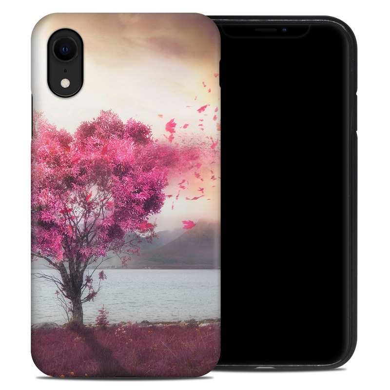 iPhone XR Hybrid Case design of Sky, Nature, Natural landscape, Pink, Tree, Spring, Purple, Landscape, Cloud, Magenta with pink, yellow, blue, black, gray colors
