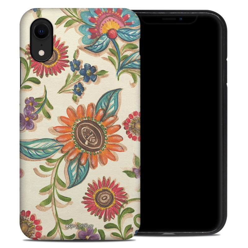 iPhone XR Hybrid Case design of Pattern, Floral design, Flower, Botany, Design, Visual arts, Textile, Plant, Wildflower, Pedicel with gray, green, pink, yellow, red, blue colors