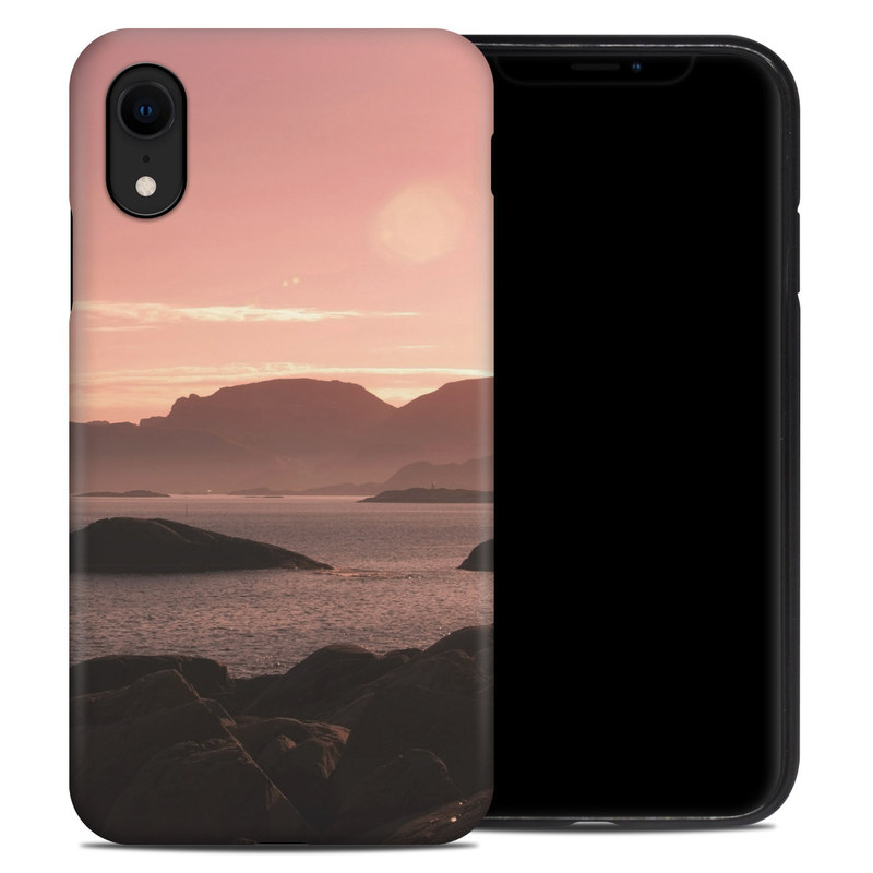 iPhone XR Hybrid Case design of Sky, Nature, Sea, Atmospheric phenomenon, Horizon, Natural landscape, Coast, Cloud, Morning, Calm with gray, black, red, pink, green colors