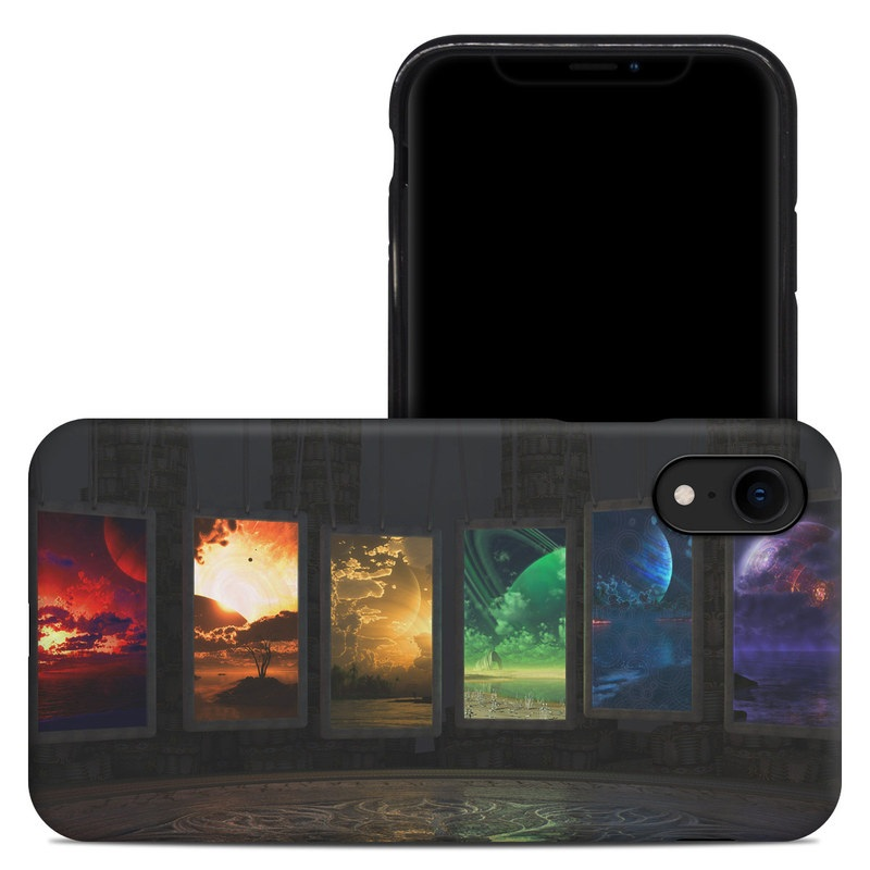 iPhone XR Hybrid Case design of Light, Lighting, Water, Sky, Technology, Night, Art, Geological phenomenon, Electronic device, Glass with black, red, green, blue colors