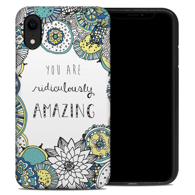 iPhone XR Hybrid Case design of Pattern, Design, Visual arts, Doodle, Illustration, Art with gray, white, black, blue, green colors