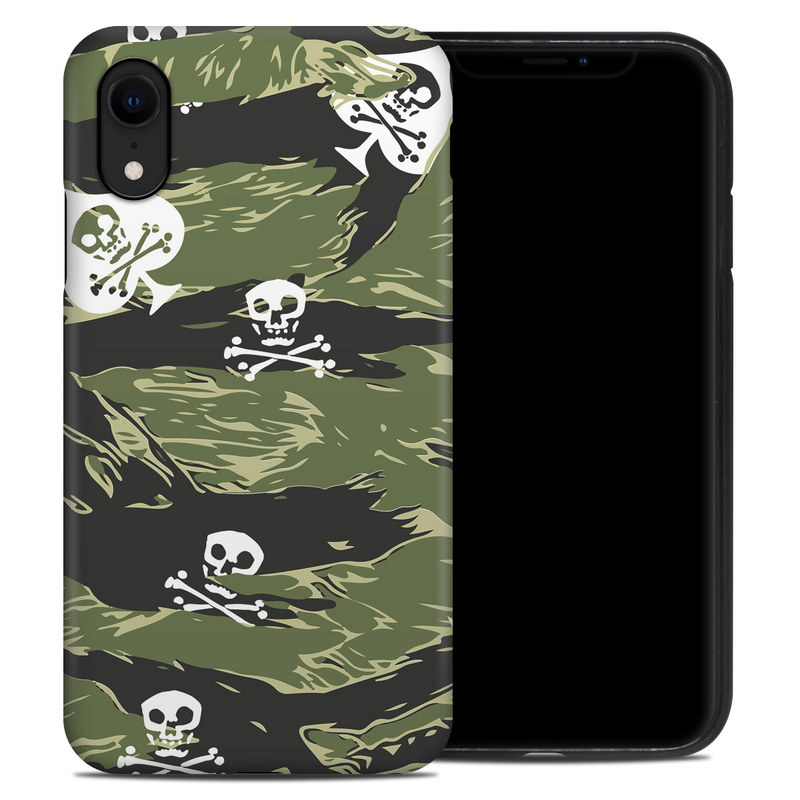 iPhone XR Hybrid Case design of Military camouflage, Pattern, Leaf, Illustration, Design, Tree, Camouflage, Plant, Art, Branch with black, white, green colors