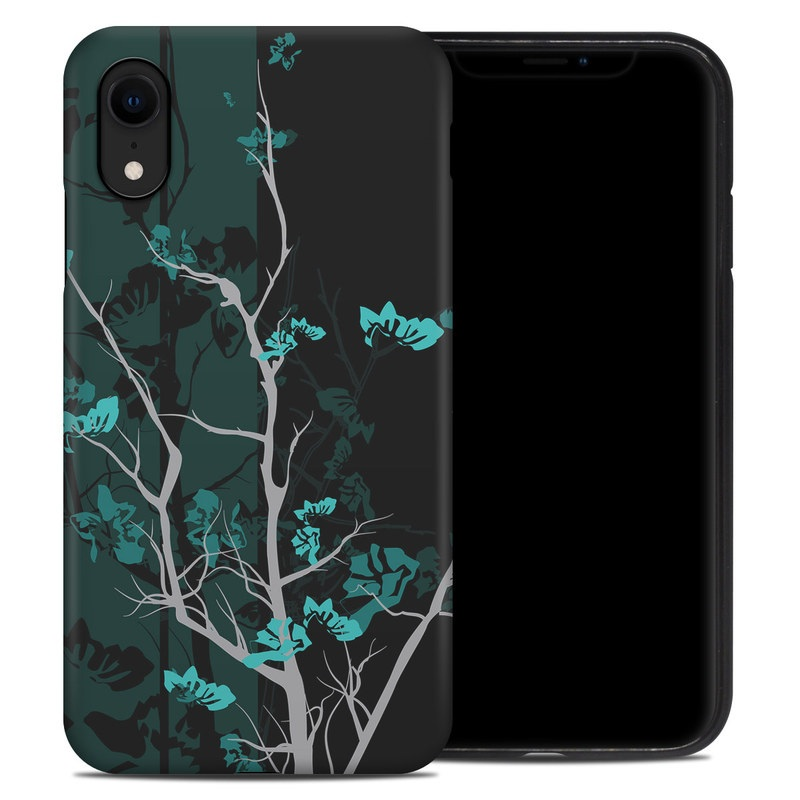 iPhone XR Hybrid Case design of Branch, Black, Blue, Green, Turquoise, Teal, Tree, Plant, Graphic design, Twig with black, blue, gray colors