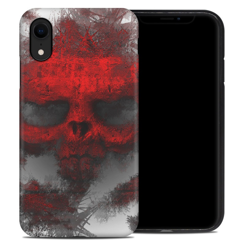 iPhone XR Hybrid Case design of Red, Graphic design, Skull, Illustration, Bone, Graphics, Art, Fictional character with red, gray, black, white colors