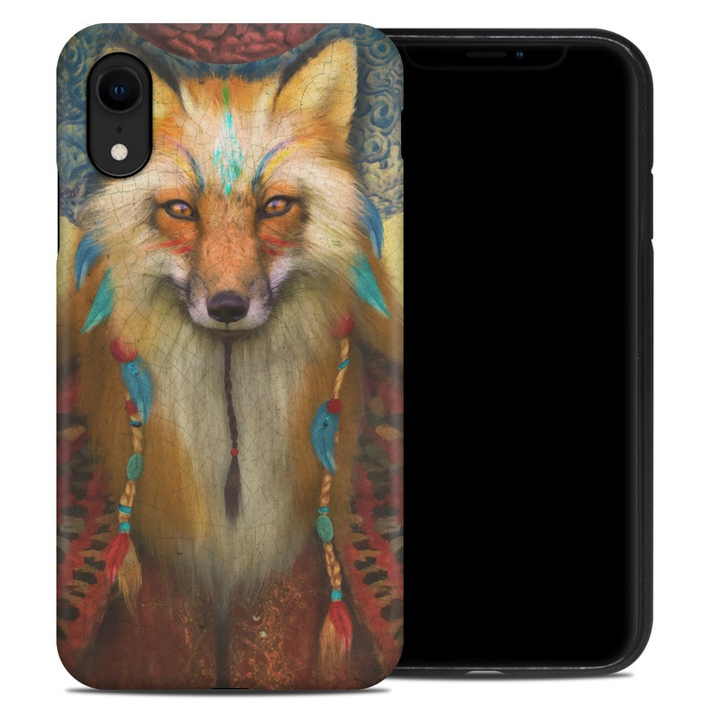 iPhone XR Hybrid Case design of Red fox, Canidae, Fox, Wildlife, Swift fox, Carnivore, Jackal, Fur, Snout, Art with red, black, gray, green, blue colors