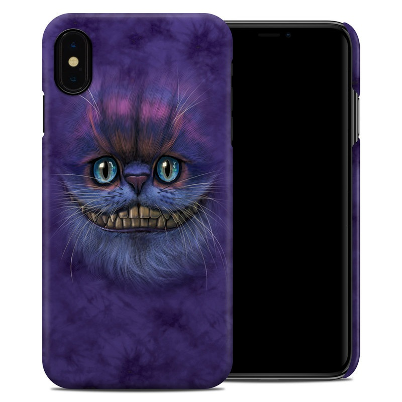 iPhone XS Max Clip Case design of Cat, Whiskers, Felidae, Small to medium-sized cats, Snout, Eye, Illustration, Ojos azules, Black cat, Carnivore with purple, blue colors