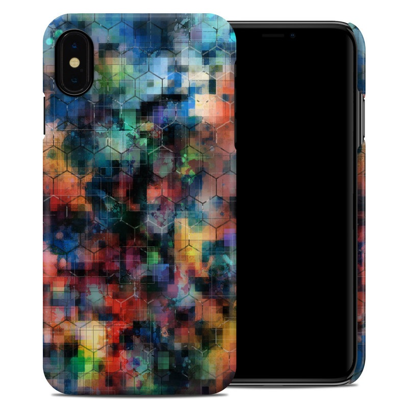 iPhone XS Max Clip Case design of Blue, Colorfulness, Pattern, Psychedelic art, Art, Sky, Design, Textile, Dye, Modern art with black, blue, red, gray, green colors