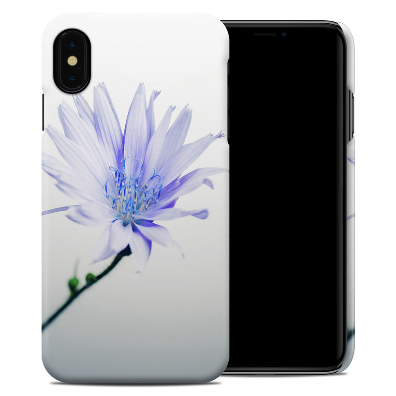 iPhone XS Max Clip Case design of Blue, Flower, Plant, Petal, Close-up, Macro photography, Flowering plant, Herbaceous plant, Wildflower, Photography with gray, white, yellow colors