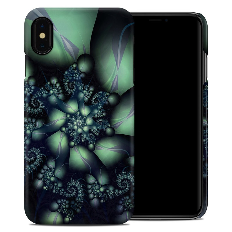 iPhone XS Max Clip Case design of Fractal art, Blue, Purple, Graphic design, Art, Design, Pattern, Organism, Plant, Graphics with black, gray, blue, green colors