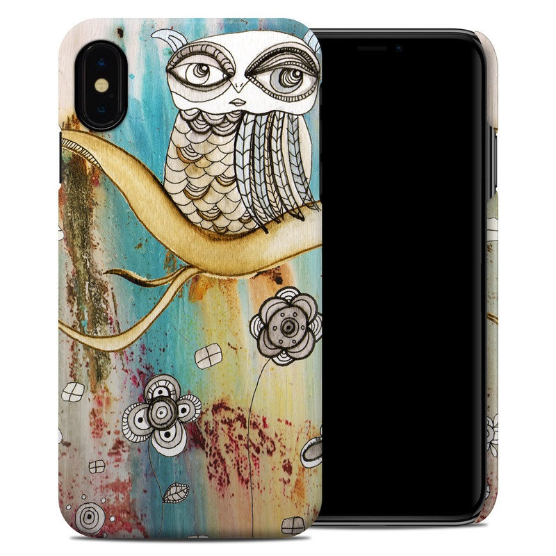 iPhone XS Max Clip Case design of Owl, Pink, Illustration, Art, Visual arts, Watercolor paint, Organism, Modern art, Graphic design, Pattern with gray, red, green, black, blue, purple colors