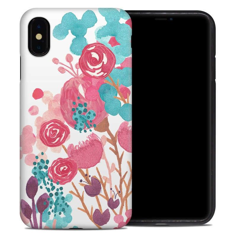 iPhone XS Max Hybrid Case design of Pink, Pattern, Design, Illustration, Clip art, Plant, Graphics, Art with white, pink, purple, blue, red colors