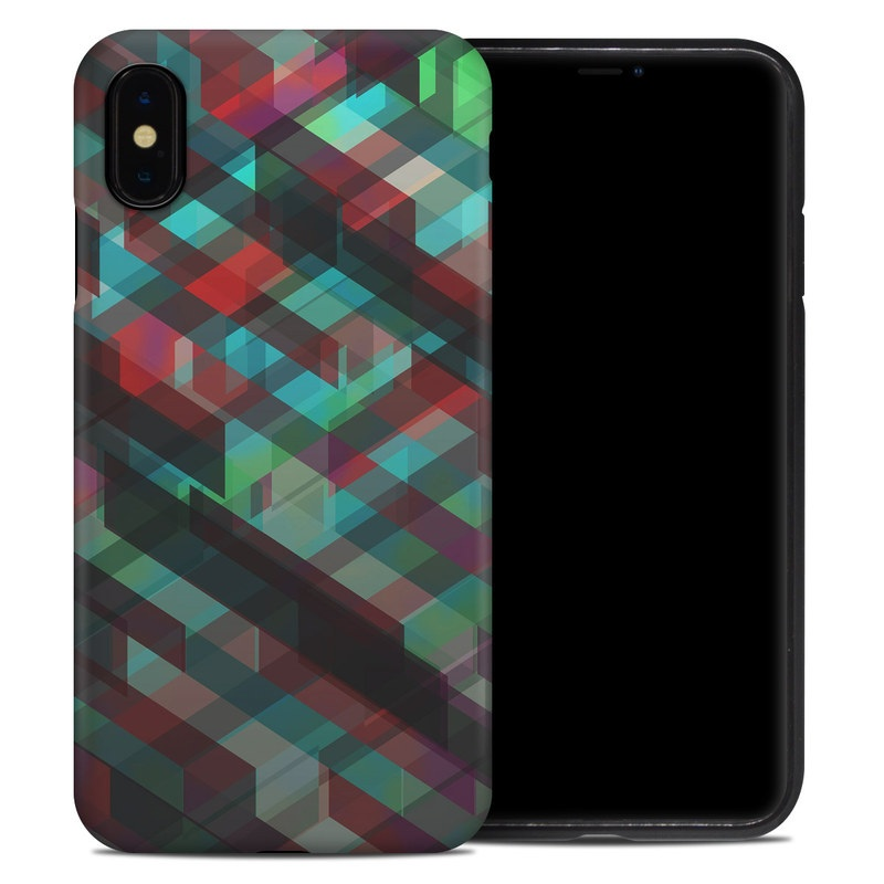 iPhone XS Max Hybrid Case design of Green, Pattern, Magenta, Purple, Orange, Line, Design, Textile, Plaid with black, red, green, blue, gray colors