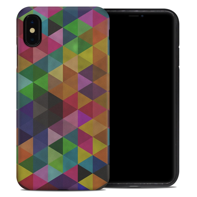 iPhone XS Max Hybrid Case design of Pattern, Orange, Purple, Violet, Triangle, Magenta, Line, Design, Psychedelic art, Colorfulness with black, red, green, blue colors