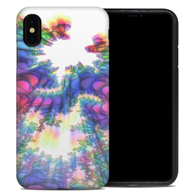 iPhone XS Max Hybrid Case design of Fractal art, Psychedelic art, Purple, Colorfulness, Art, Graphic design, Pattern, Graphics, Artwork, Symmetry with gray, white, blue, purple, pink colors