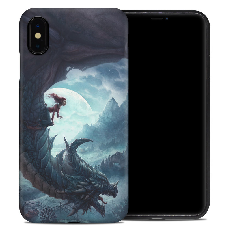 iPhone XS Max Hybrid Case design of Dragon, Cg artwork, Illustration, Action-adventure game, Fictional character, Mythical creature, Mythology, Fiction, Cryptid, Extinction with blue, white, brown, green colors