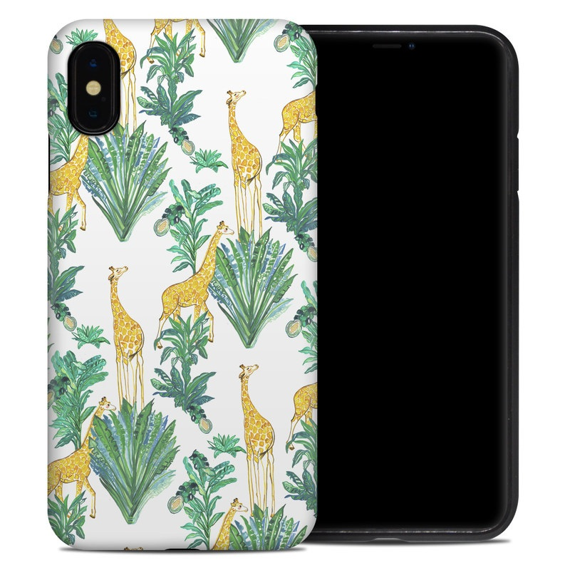 iPhone XS Max Hybrid Case design of Leaf, Plant, Botany, Pattern, Flower with white, yellow, green colors