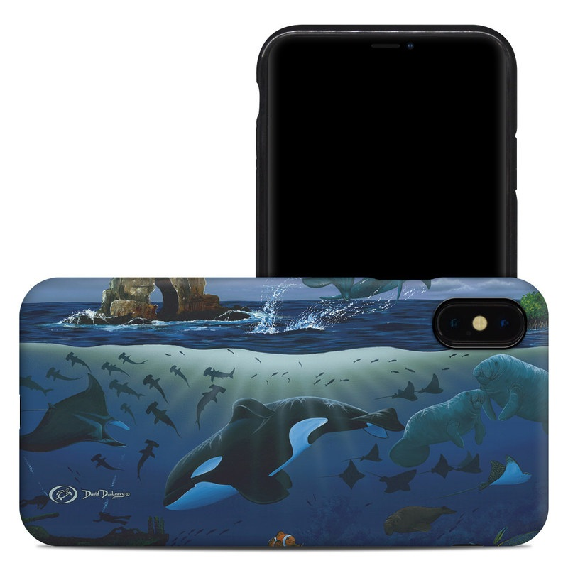 iPhone XS Max Hybrid Case design of Marine biology, Underwater, Ocean, Marine mammal, Dolphin, Sea, World, Cetacea with black, blue, gray colors