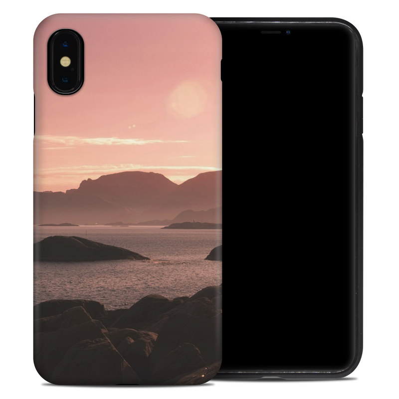 iPhone XS Max Hybrid Case design of Sky, Nature, Sea, Atmospheric phenomenon, Horizon, Natural landscape, Coast, Cloud, Morning, Calm with gray, black, red, pink, green colors