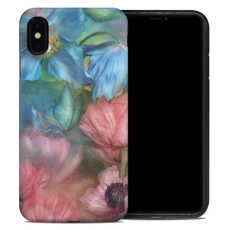 iPhone XS Max Hybrid Case design of Flower, Petal, Watercolor paint, Painting, Plant, Flowering plant, Pink, Botany, Wildflower, Still life with gray, blue, black, red, green colors
