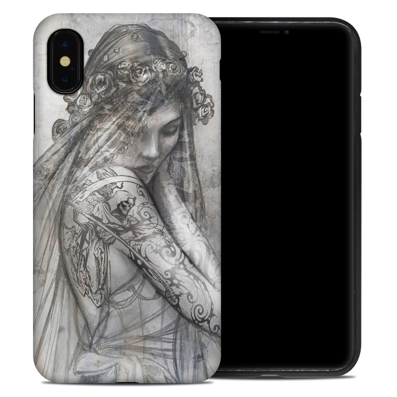 iPhone XS Max Hybrid Case design of Lady, Art, Illustration, Drawing, Painting, Sketch, Mythology, Figure drawing, Long hair, Visual arts with white, gray, black colors