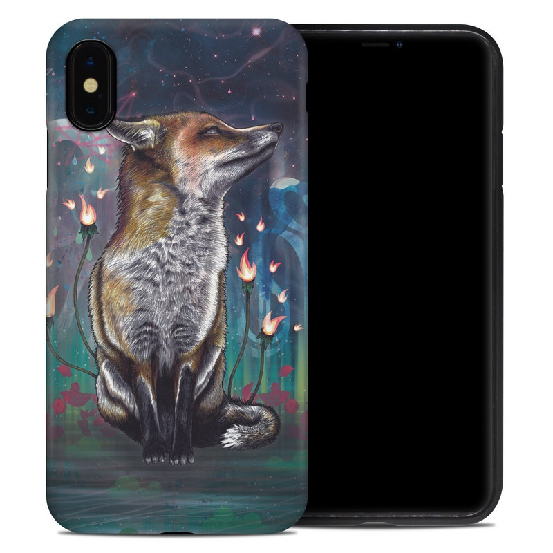 iPhone XS Max Hybrid Case design of Red fox, Art, Wildlife, Canidae, Illustration, Fox, Carnivore, Painting, Dhole, Red wolf with black, gray, blue, red, green colors